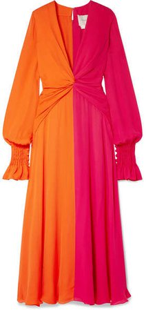 Two-tone Gathered Silk-georgette Maxi Dress - Orange