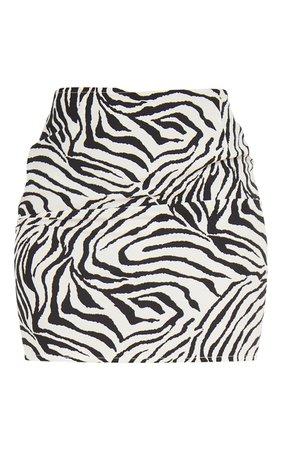 Multi Zebra Print Woven Mini Skirt | PrettyLittleThing USA