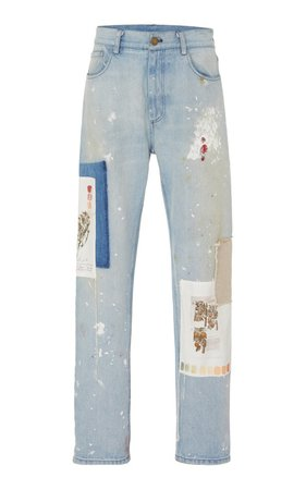 Patchwork Distressed Straight-Leg Jeans by MONSE | Moda Operandi