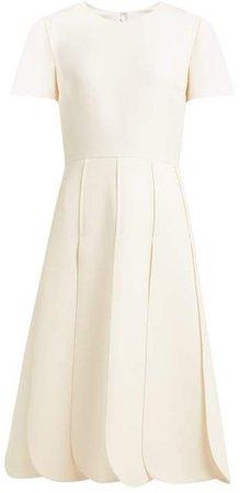 Overlap Pleat Wool Blend Dress - Womens - Ivory