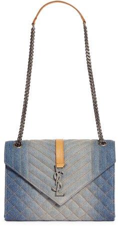 Medium Matelasse Denim Shoulder Bag