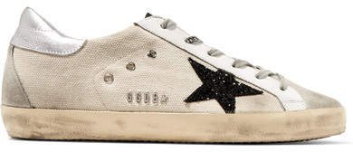 Superstar Glittered Distressed Canvas, Leather And Suede Sneakers - Beige