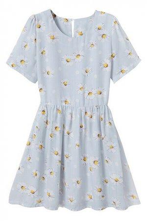 Daisy Print Round Neck Short Sleeve Pleated Dress - Beautifulhalo.com