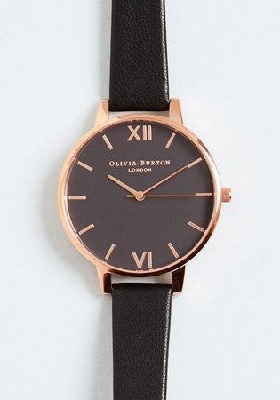 Olivia Burton Power Hour Leather Strap Watch in Black   ModCloth