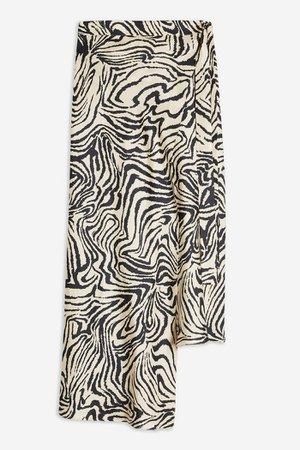 **Zebra Silk Bias Skirt by Boutique | Topshop White