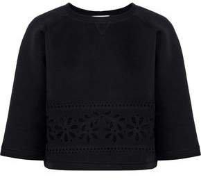 Cropped Laser-cut Cotton-neoprene Sweatshirt