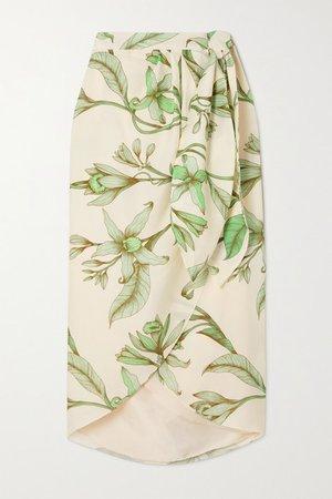 Botanist Guide Floral-print Tencel-twill Wrap Skirt - Green
