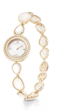 BOUCHERON, SERPENT BOHÈME Jewelry watch in yellow gold with diamonds and mother-of-pearl, mother-of-pearl dial with 4 diamonds, mother-of-pearl set bracelet