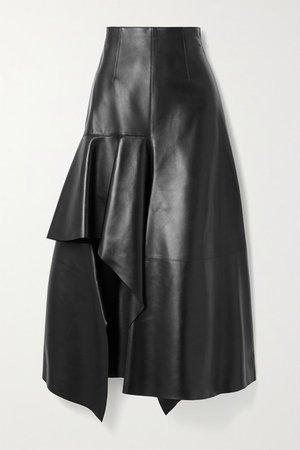 Draped Leather Skirt - Black