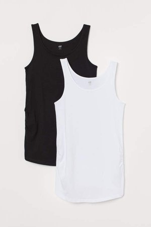 MAMA 2-pack Cotton Tank Tops - White