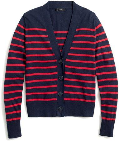 Striped V-neck cotton cardigan sweater