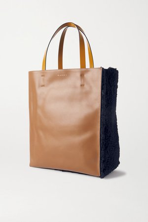 Museo Shearling And Leather Tote - Navy
