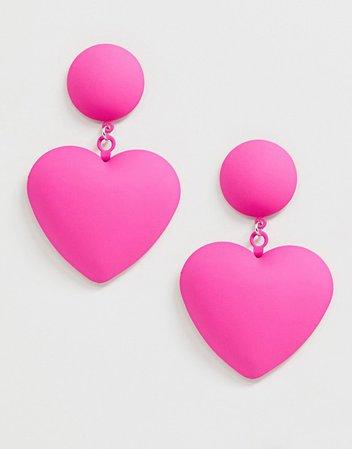 ASOS DESIGN earrings with heart drop in rubber coating   ASOS