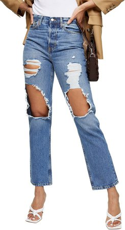 Ripped High Waist Ankle Dad Jeans