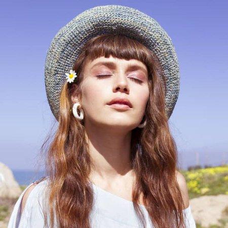 Light blue raffia Straw Hat | Justine Hats | Wolf & Badger