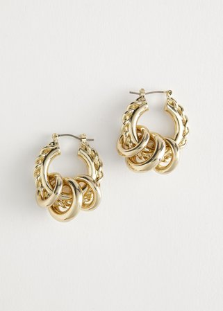 Chunky Multi Pendant Hoop Earrings - Gold - Hoops - & Other Stories