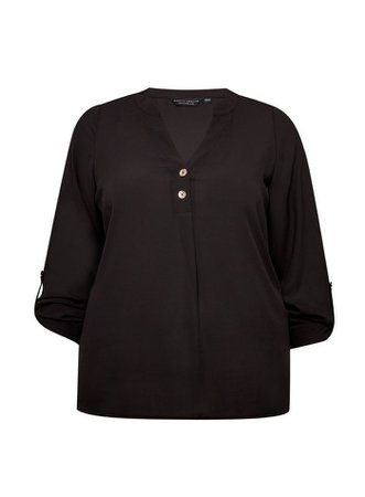 **Curve Black Roll Sleeve Top | Dorothy Perkins