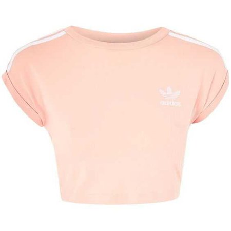 3-Stripe Crop Top by Adidas Originals ($33) ❤ liked on Polyvore featuring tops, pink, striped top, topshop tops, striped crop top, cut-out crop tops and cropped tops