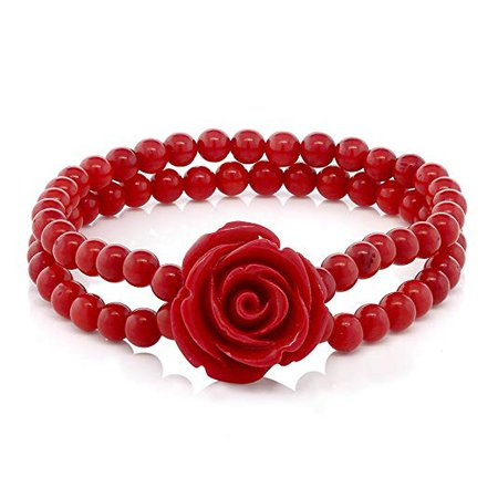 Amazon.com: Gem Stone King 7 Inch Red Simulated Coral Bead Rose Flower Stretch Bracelet 5mm: Gateway