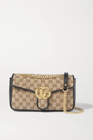 Gucci   GG Marmont small leather-trimmed quilted printed coated-canvas shoulder bag   NET-A-PORTER.COM