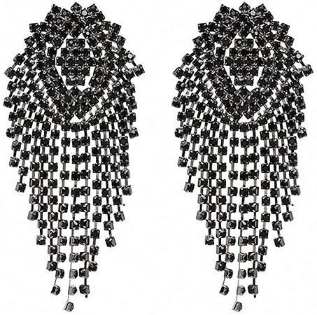 Amazon.com: Crystal Beads Earrings Women Ethnic Jewelry Handmade Elegant Big Long Beads Earrings Gold Black: Jewelry