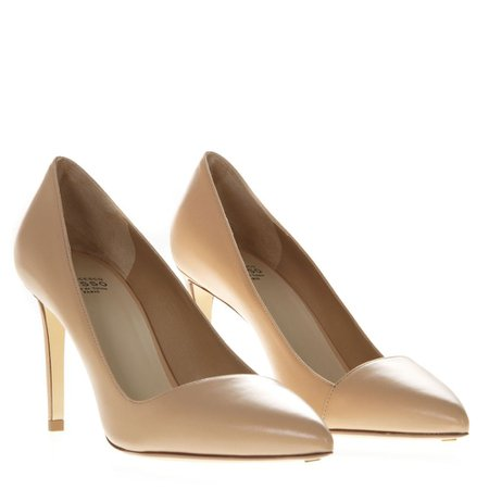Francesco Russo Nude Leather Pumps
