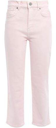 Dominica Cropped Printed High-rise Straight-leg Jeans