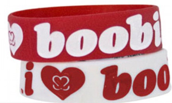 red i heart boobies bracelets