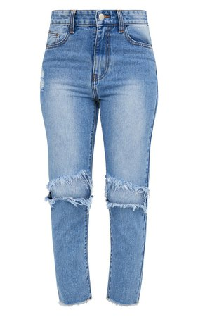 Mid Wash Extreme Knee Rip Slim Jean. Denim | PrettyLittleThing USA