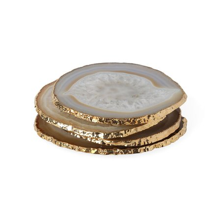 Natural and Gold Agate Coasters   Modern Dining   Jonathan Adler