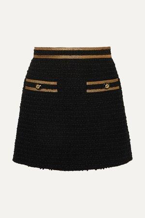 Black Metallic-trimmed cotton-blend tweed mini skirt | Gucci | NET-A-PORTER