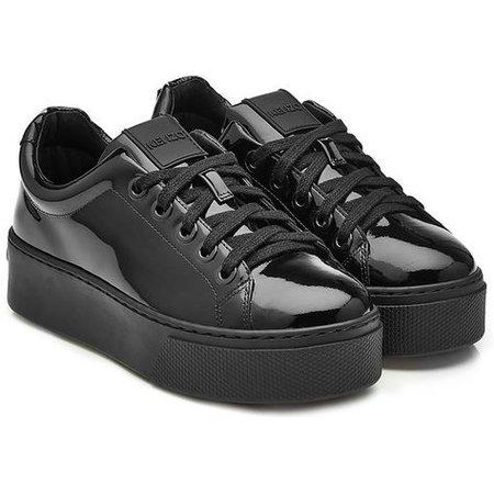 Black Patent Leather Platform Sneakers