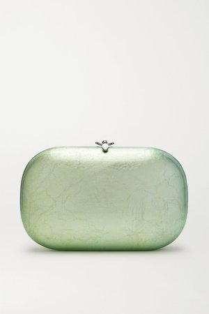 Mint Elina PLUS textured silver and enamel-plated chrome clutch | Jeffrey Levinson | NET-A-PORTER