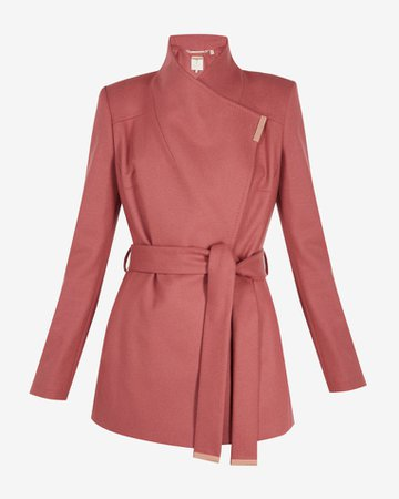 Short wool wrap coat - Coral | Jackets and Coats | Ted Baker ROW