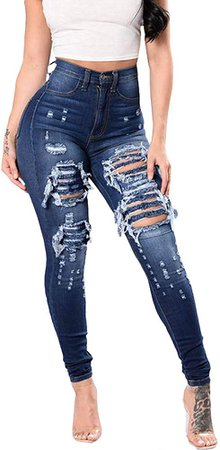 SOMTHRON Women's High Rise Distressed Slim Punk Denim Jeans High Waist Skinny Destroyed Ripped Pencil Jeans Pants(ZQ-L) Dark Blue at Amazon Women's Jeans store