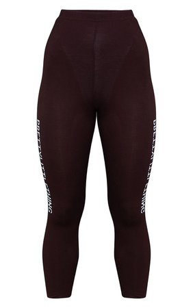 PRETTYLITTLETHING Brown Logo Leggings | PrettyLittleThing USA