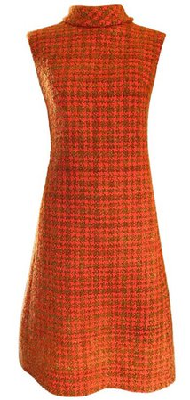 Chic 1960s Burnt Orange Wool Boucle Checkered Vintage 60s A - Line Dress
