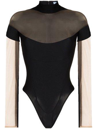 Mugler Sheer Panel Bodysuit - Farfetch