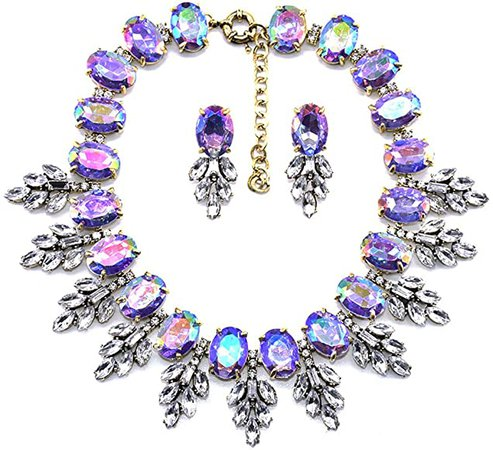 Amazon.com: Zthread Luxury Colorful Crystal Statement Necklace Leaf Pendant Choker Eveing Dress Bridal Jewelry Necklace Earrings Set for Women (Purple): Clothing
