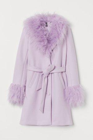 Faux Fur belted Coat - Light purple - Ladies   H&M US