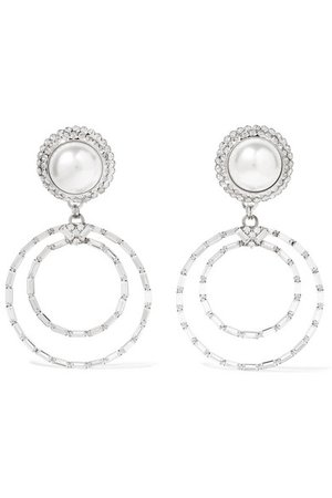 Alessandra Rich | Oversized silver-tone, crystal and faux pearl clip earrings | NET-A-PORTER.COM
