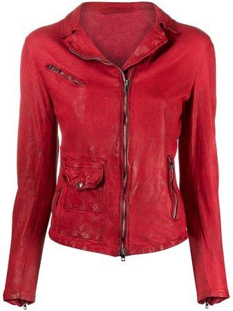 Salvatore Santoro fitted front zip fastening jacket red 40009D - Farfetch