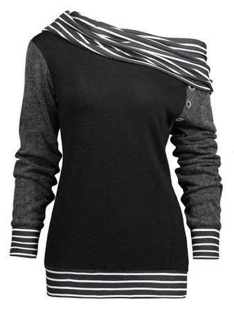 Striped Skew-Neck Sweatshirt (black + grey)