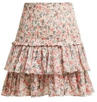 Naomi Floral Print Cotton Mini Skirt - Womens - White Multi
