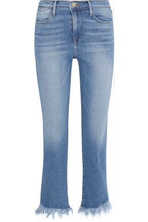 Le High frayed high-rise slim-leg jeans | FRAME | Sale up to 70% off | THE OUTNET