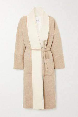 Belted Wool-blend Coat - Beige