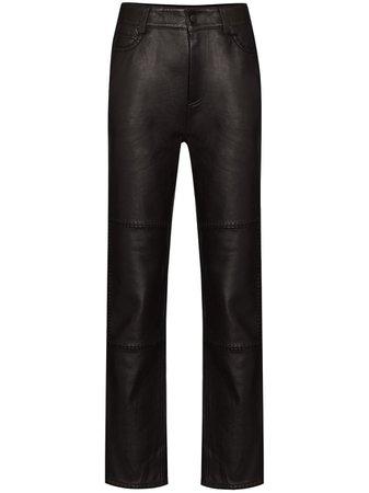 GANNI stitch-detail Leather Trousers - Farfetch