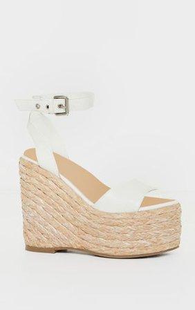 White Chunky Raffia Buckle Wedge Heels | PrettyLittleThing