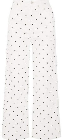 Charlotte Polka-dot High-rise Wide-leg Jeans - White