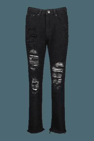 Mid Rise Distressed Boyfriend Jeans | boohoo